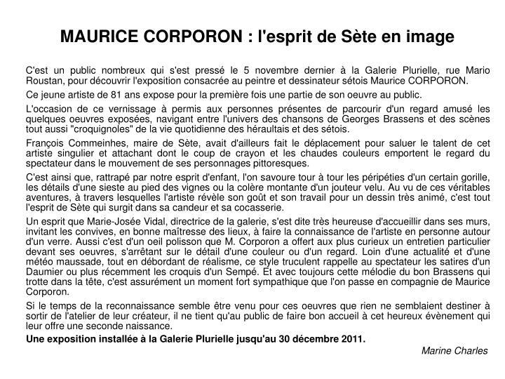 MAURICE CORPORON : l'esprit de Sète en image