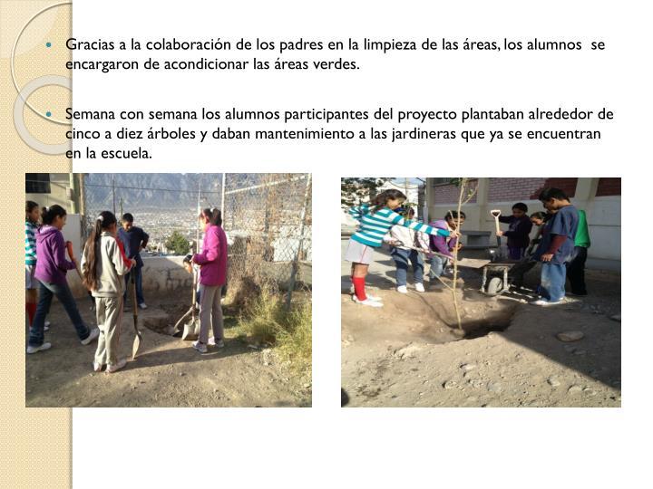 Gracias a la colaboración de los padres en la limpieza de las áreas, los alumnos  se encargaron de acondicionar las áreas verdes.