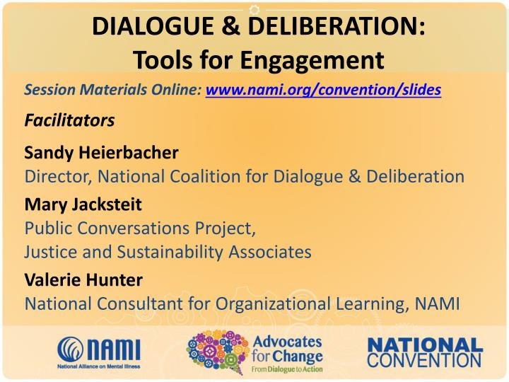 Dialogue deliberation tools for engagement