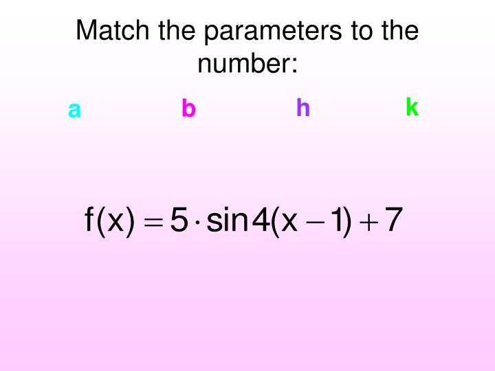 Match the parameters to the number