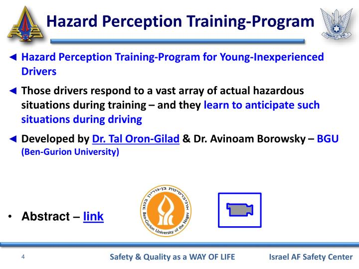 Hazard Perception Training-Program for Young-Inexperienced Drivers