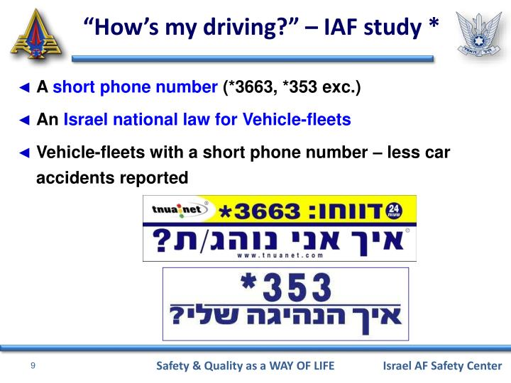 """How's my driving?"" – IAF study *"