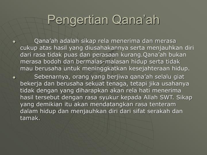 Pengertian Qana'ah