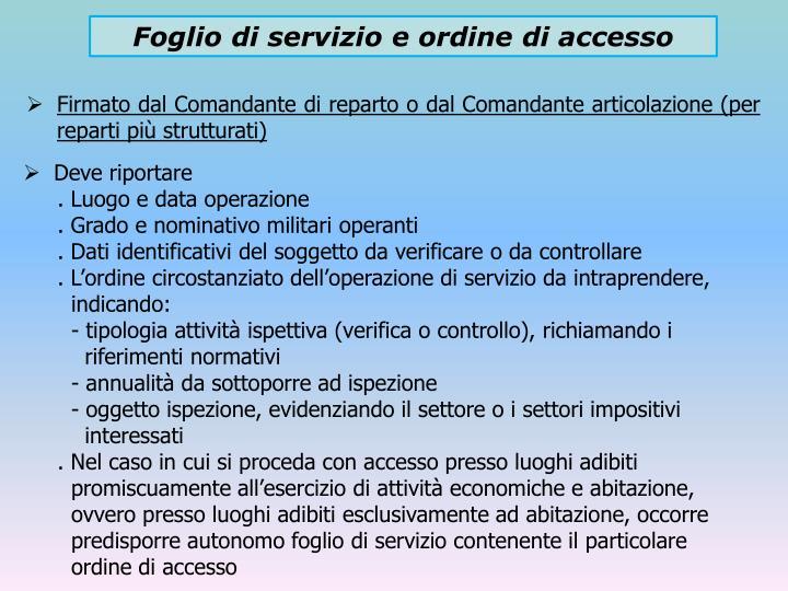 Foglio di servizio e ordine di accesso