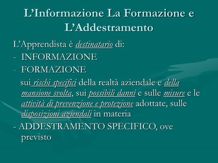 L'Informazione La Formazione e L'Addestramento