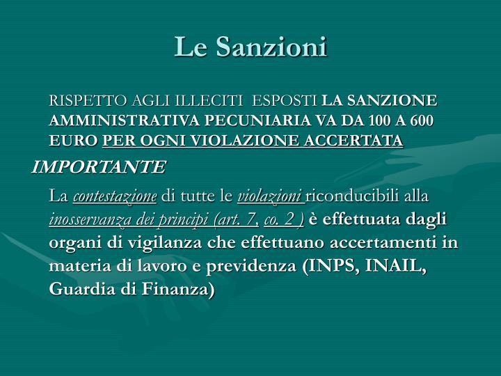 Le Sanzioni