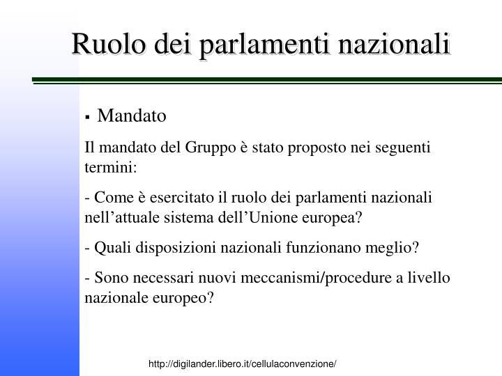Ruolo dei parlamenti nazionali