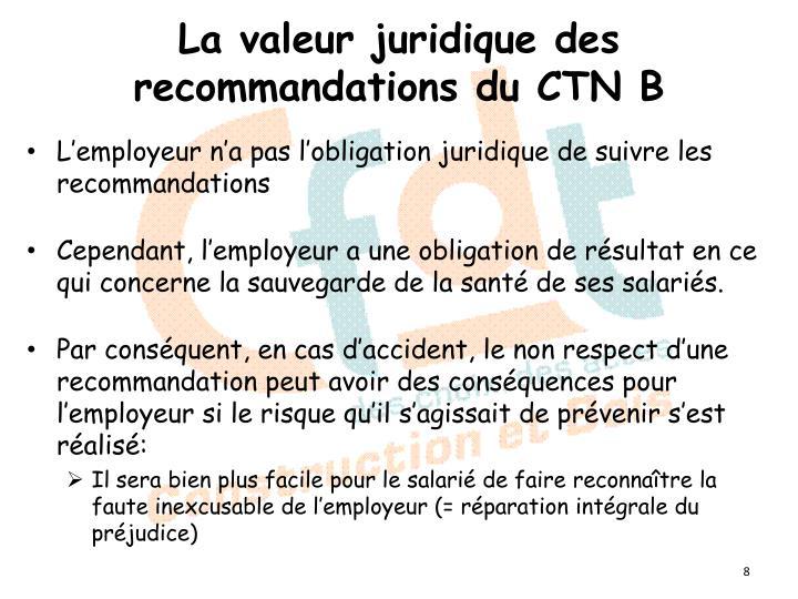 La valeur juridique des recommandations du CTN B