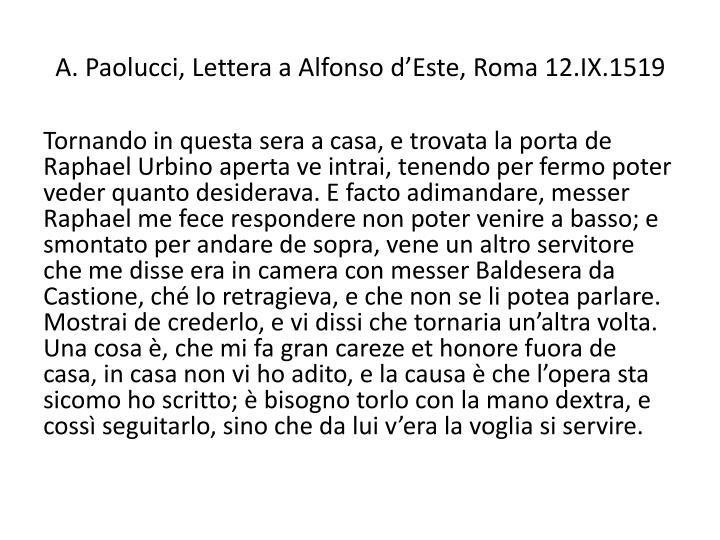 A. Paolucci, Lettera a Alfonso d'Este, Roma 12.IX.1519