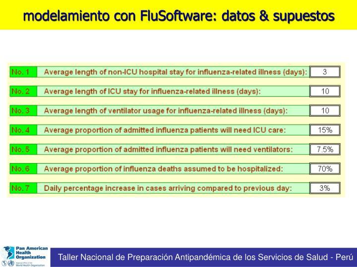 modelamiento con FluSoftware: datos & supuestos