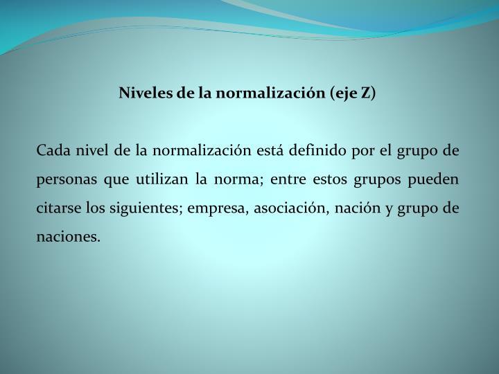 Niveles de la normalización (eje Z)