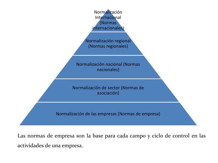 Las normas de empresa son la base para cada campo y ciclo de control en las actividades de una empresa.
