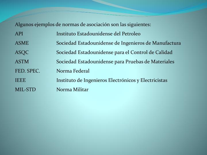 Algunos ejemplos de normas de asociación son las siguientes: