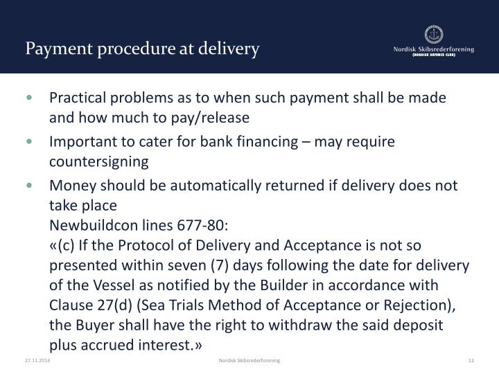 Payment procedure at delivery