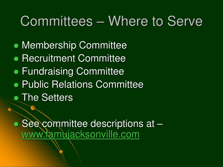 Committees – Where to Serve