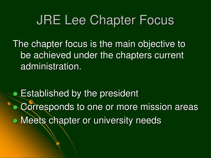 JRE Lee Chapter Focus