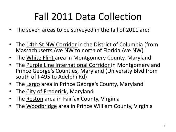 Fall 2011 Data Collection