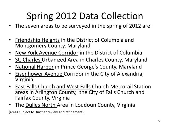 Spring 2012 Data Collection