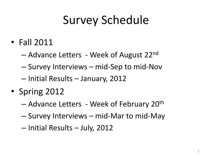 Survey Schedule