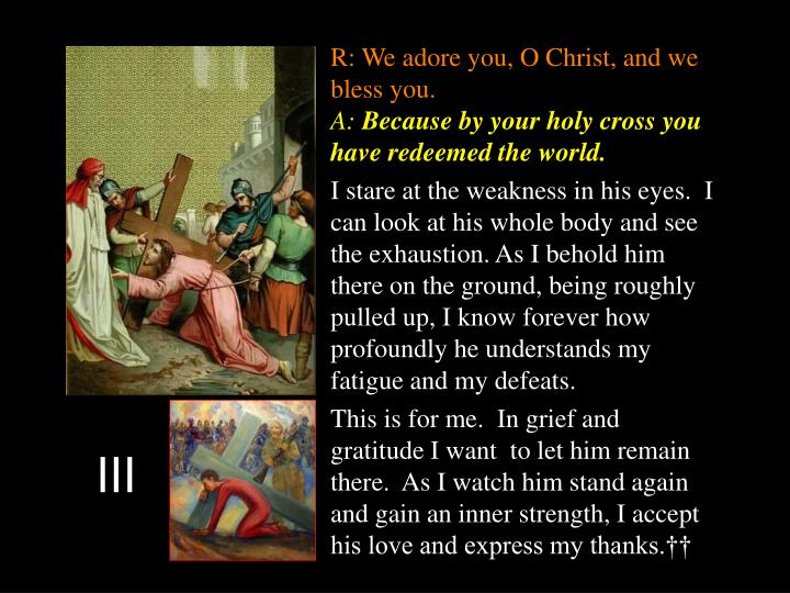 R: We adore you, O Christ, and we bless you.