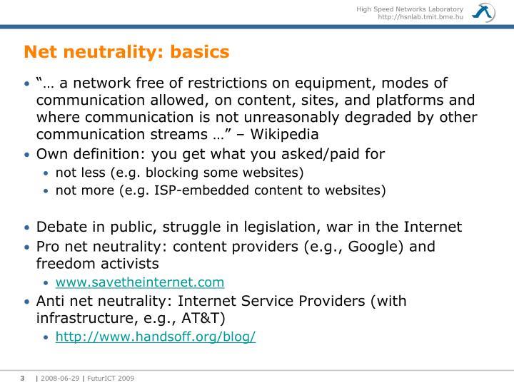 Net neutrality: basics