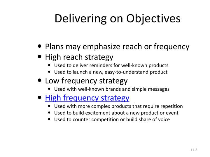 Delivering on Objectives