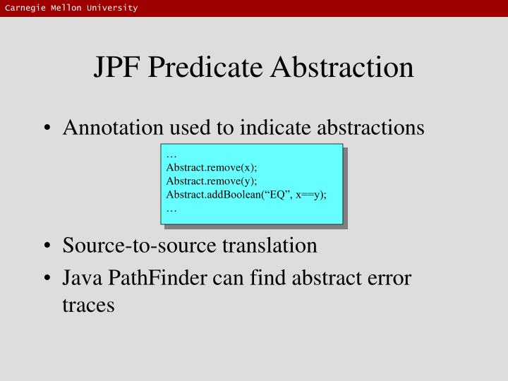 JPF Predicate Abstraction