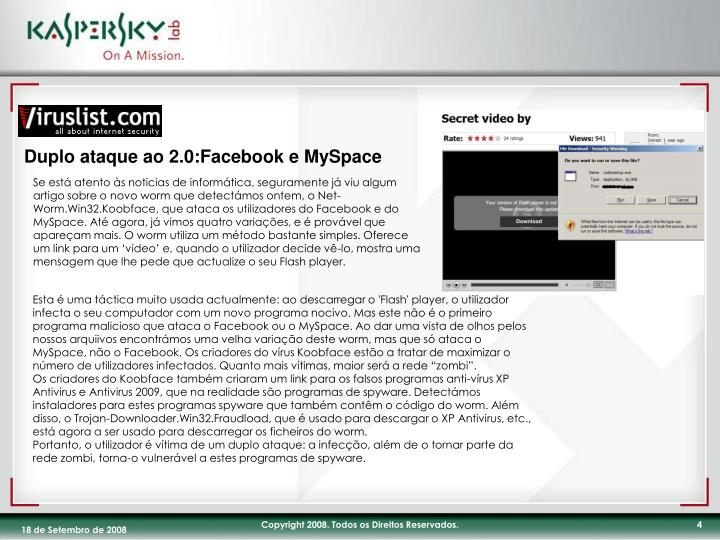 Duplo ataque ao 2.0:Facebook e MySpace