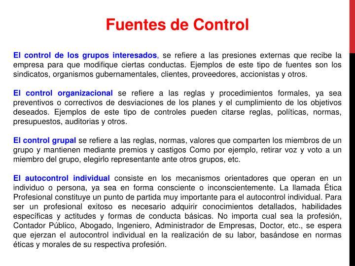 Fuentes de Control