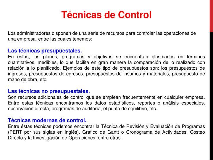Técnicas de Control