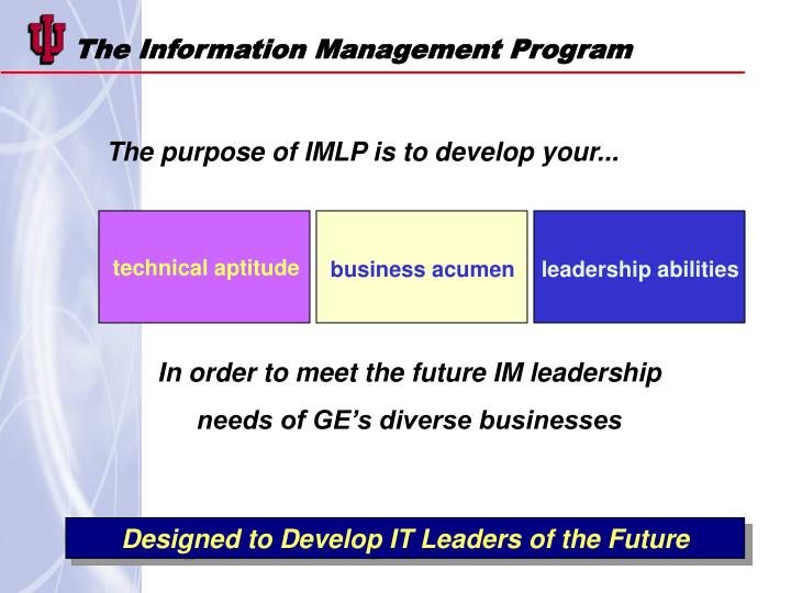 The Information Management Program