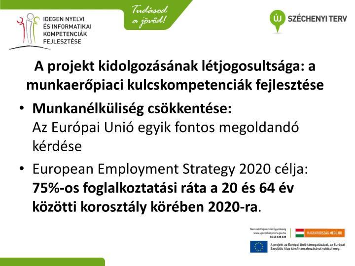 A projekt kidolgozásának létjogosultsága: a munkaerőpiaci kulcskompetenciák fejlesztése