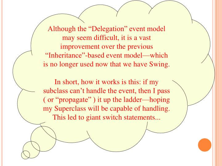 "Although the ""Delegation"" event model may seem difficult, it is a vast improvement over the previous ""Inheritance""-based event model—which is no longer used now that we have Swing."