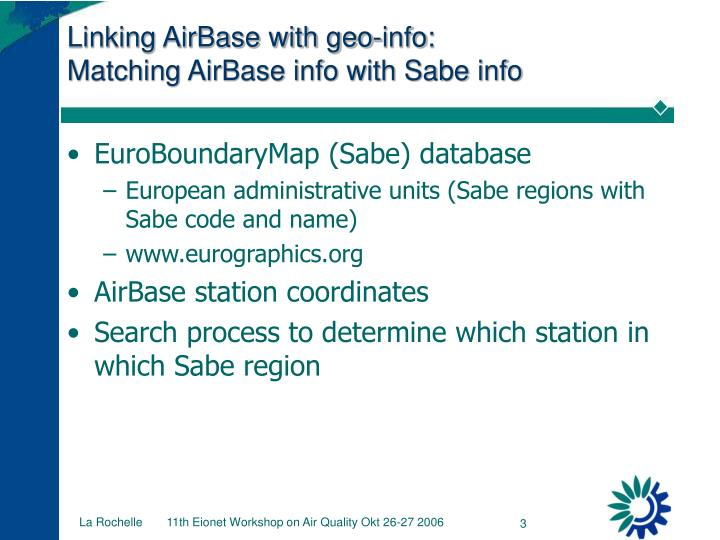 Linking airbase with geo info matching airbase info with sabe info