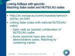 linking airbase with geo info matching sabe codes and nuts lau codes