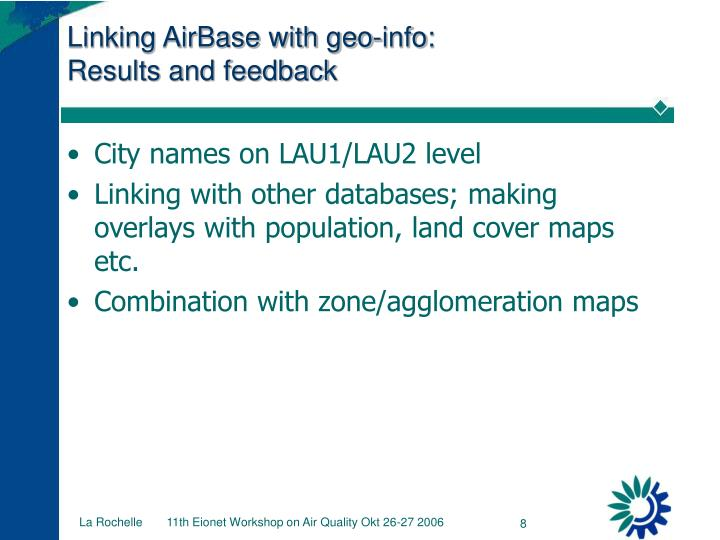 Linking AirBase with geo-info:
