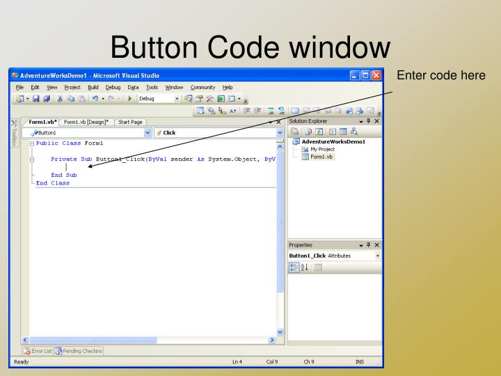 Button Code window