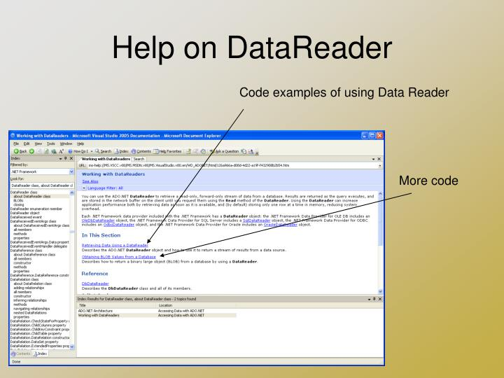 Help on DataReader