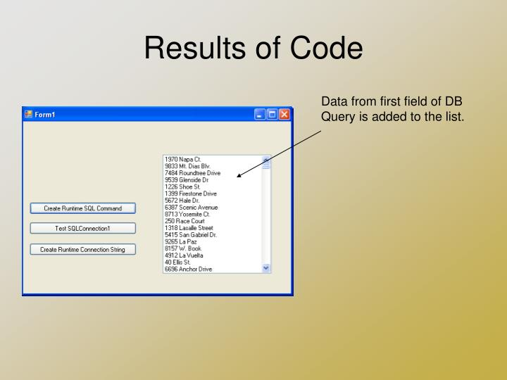 Results of Code