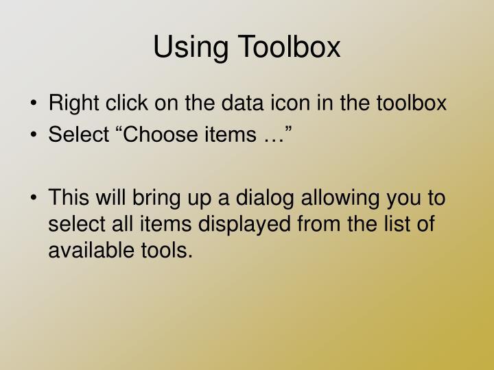Using Toolbox