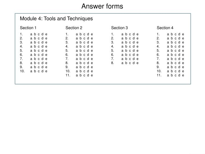 Answer forms