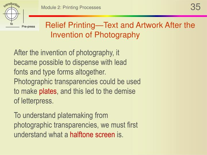 Relief Printing—Text and Artwork After the Invention of Photography