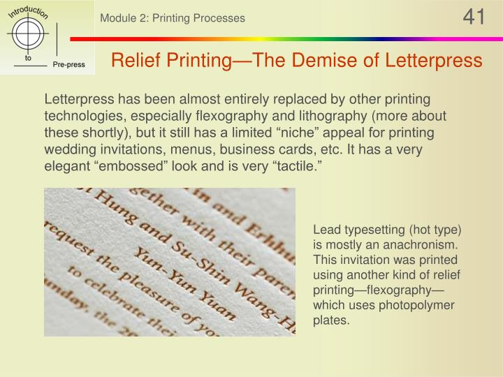 Relief Printing—The Demise of Letterpress