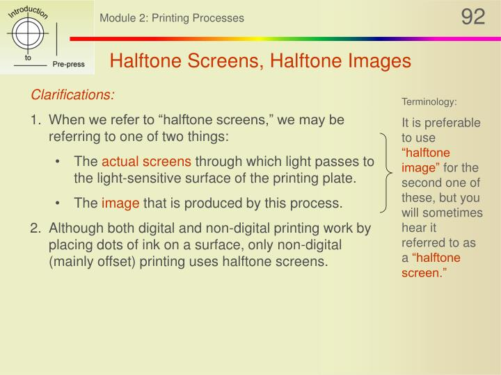 Halftone Screens, Halftone Images