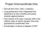 proper time coordinate time