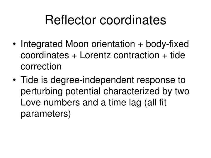 Reflector coordinates