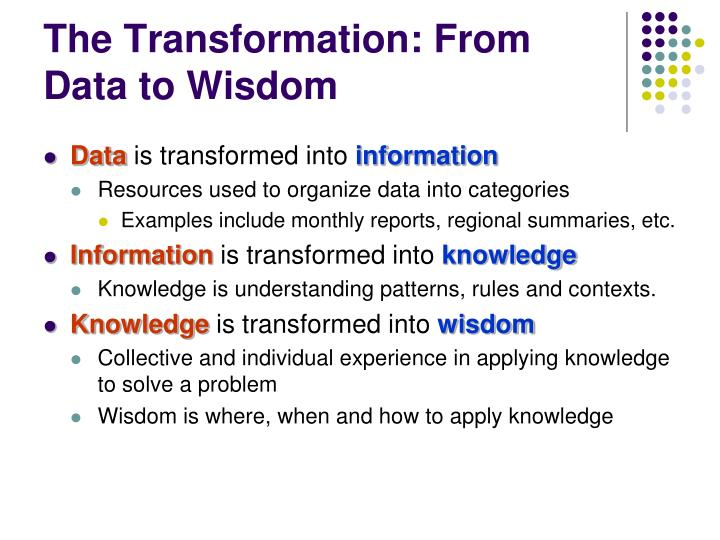 The Transformation: From Data to Wisdom