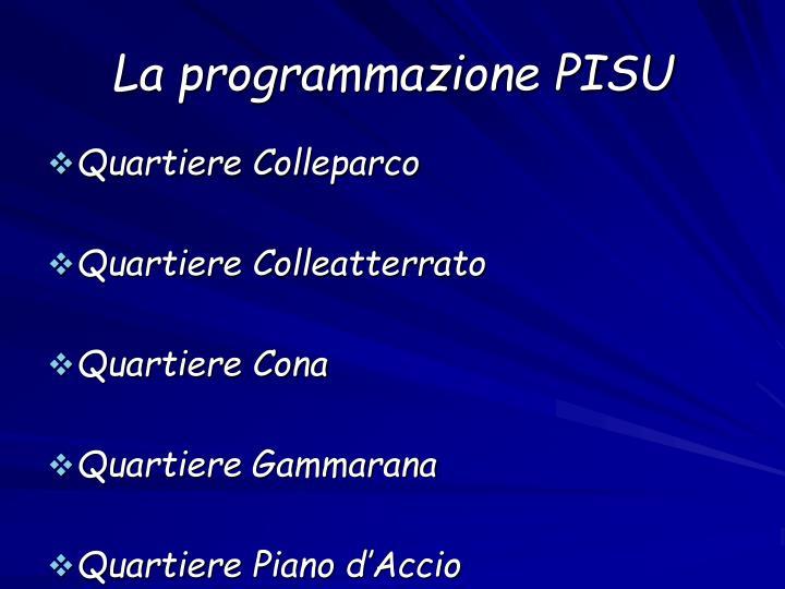 La programmazione PISU