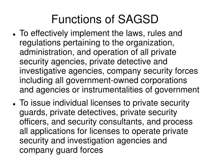 Functions of SAGSD