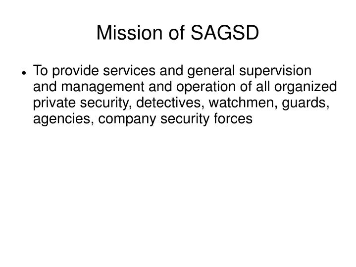 Mission of SAGSD